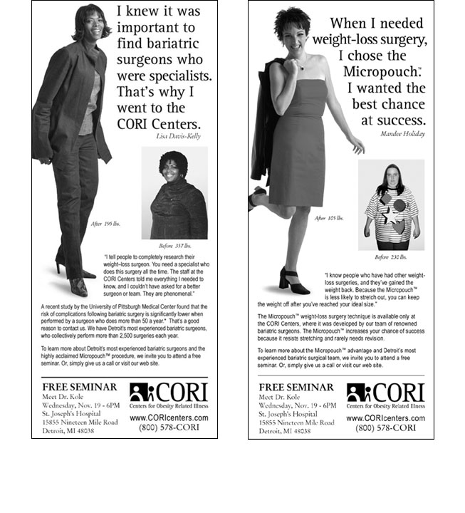 Centers for Obesity Related Illness Newspaper Ad