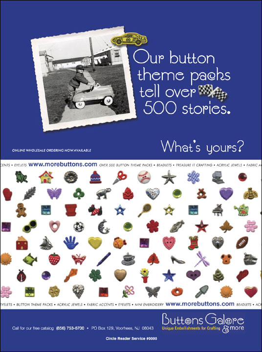 Ad for Buttons Galore & More