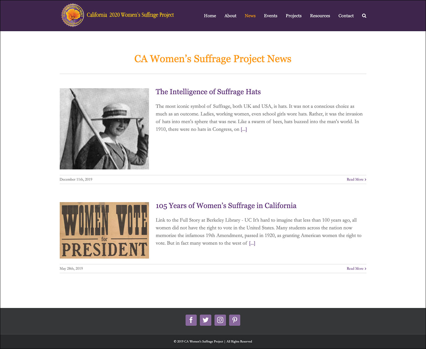 California Women's Suffrage Project News