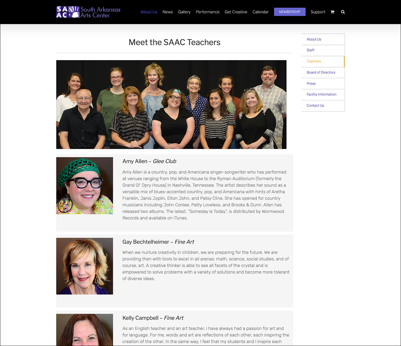 South Arkansas Arts Center - Teachers